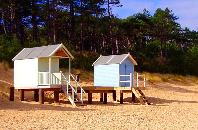 Some of the beach huts which line the edge of the beach